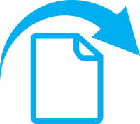 A blue document icon with an arrow arching over it, left to right