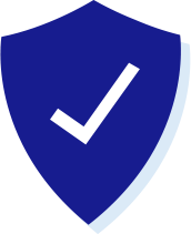 Icon of a blue shield with a white check mark on it