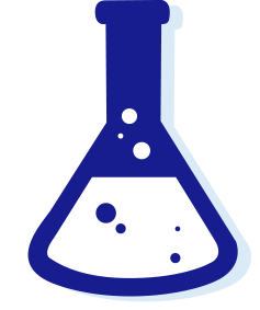Icon of a blue conical flask with white bubbling liquid inside