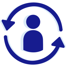 Blue human icon in side of two blue arrows rotating clockwise