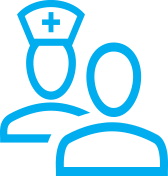 Two blue human icons, one is wearing a nurse hat